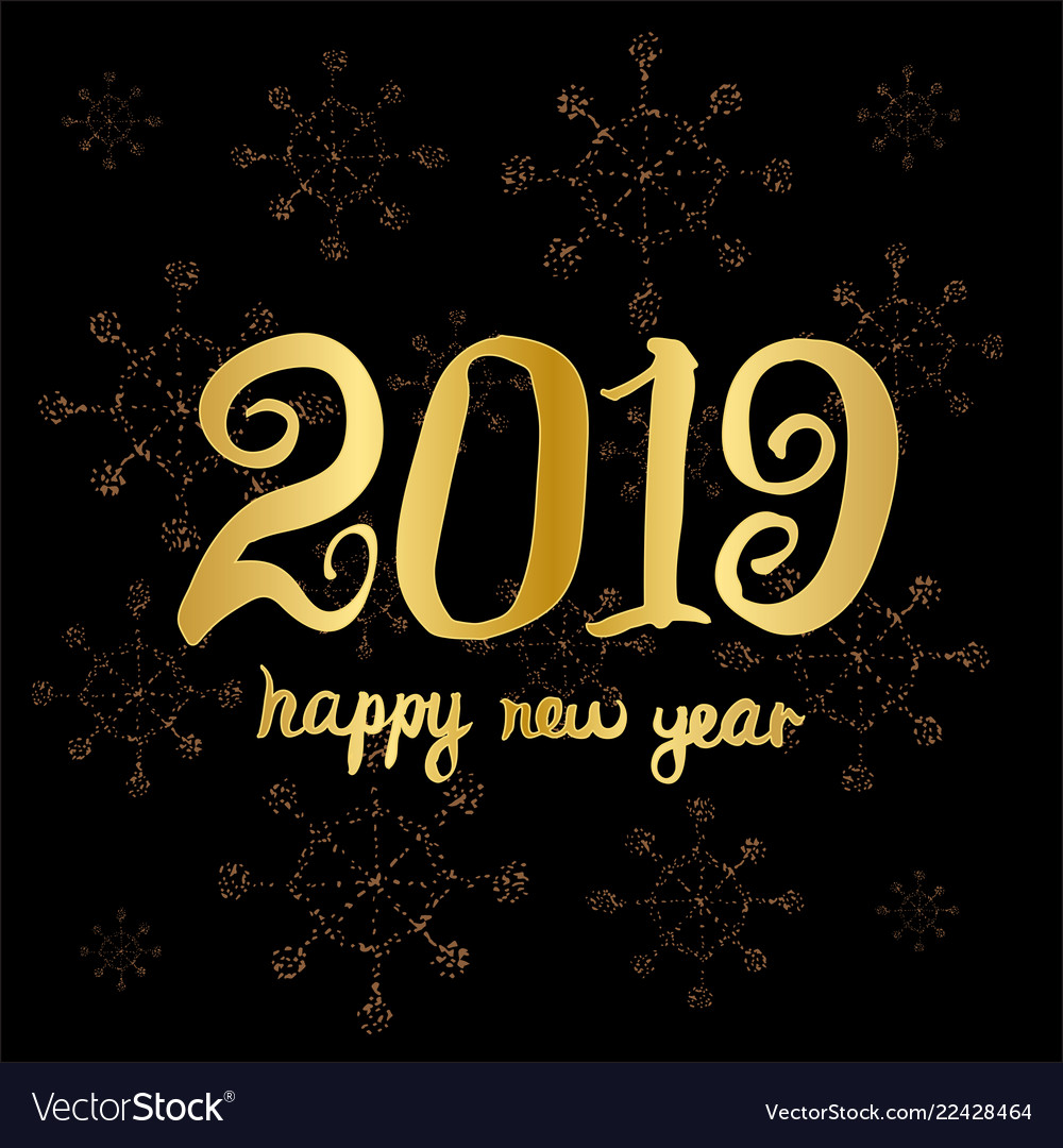 Happy new year 2019 greeting card design template