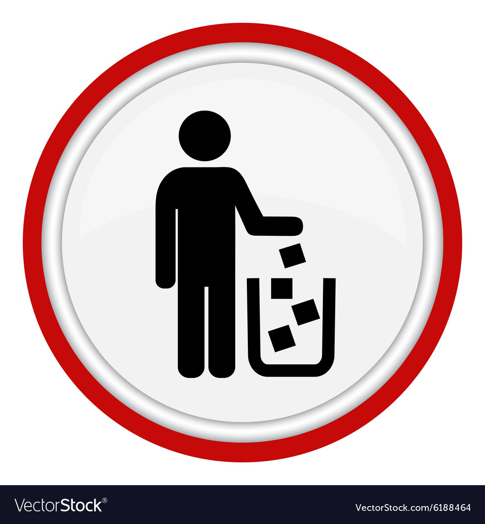 Icon man throws garbage in the cart