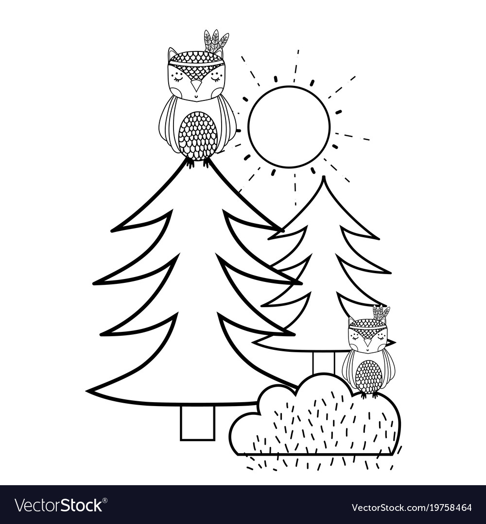 Line ethnic owls animals with pine trees and vector image