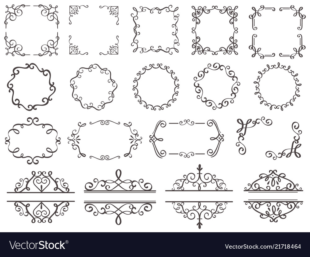 . Retro decoration frames vintage filigree swirls