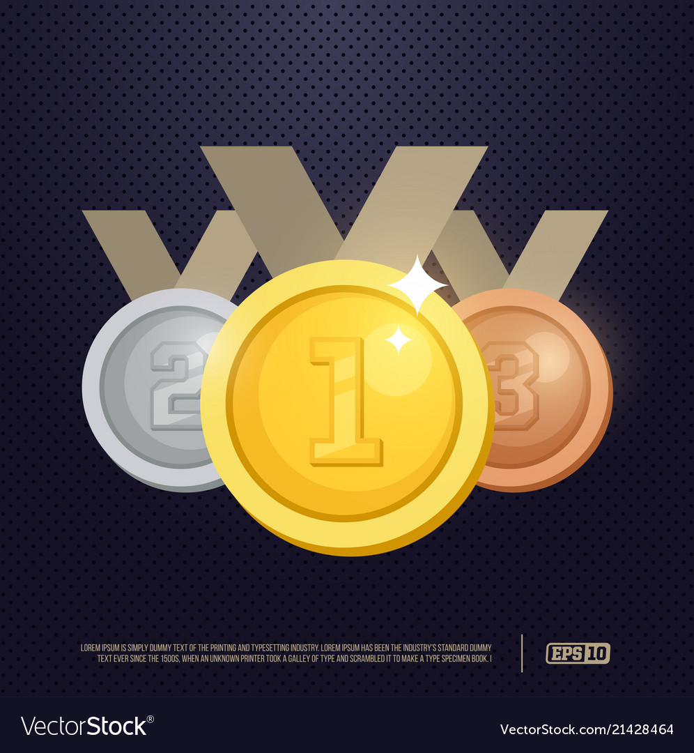 Set gold silver and bronze award medals
