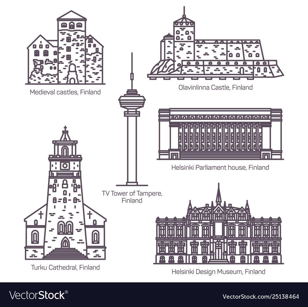 Set isolated finland or finnish landmarks