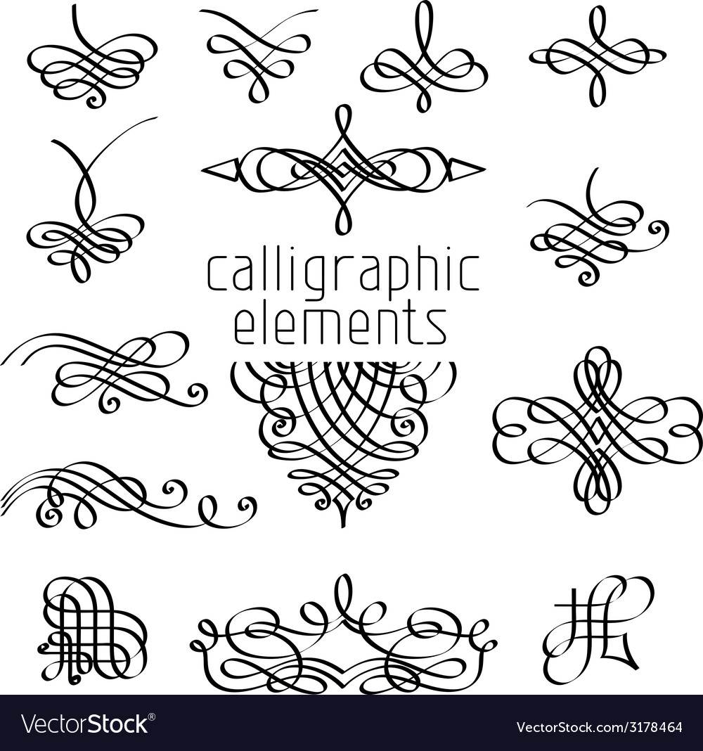 Set of calligraphic design elements