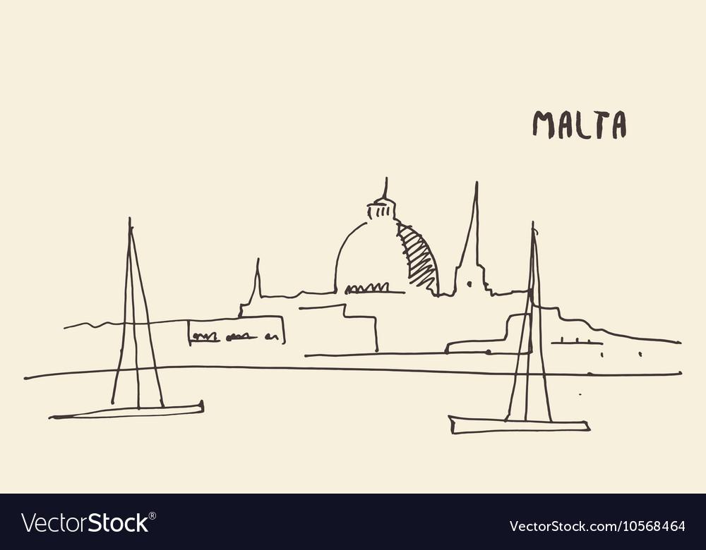 Sketch Malta view hand drawn