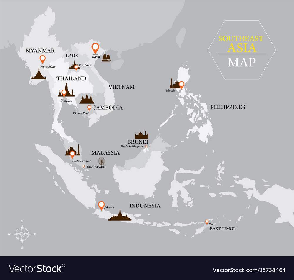 Southeast asia map with country and capital