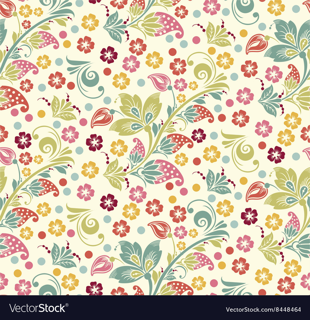 Spring Summer Floral Seamless Pattern Royalty Free Vector