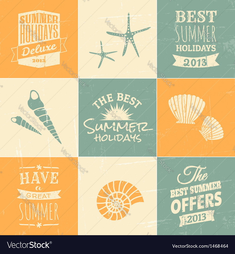 Summer typographic design elements and icons vector image