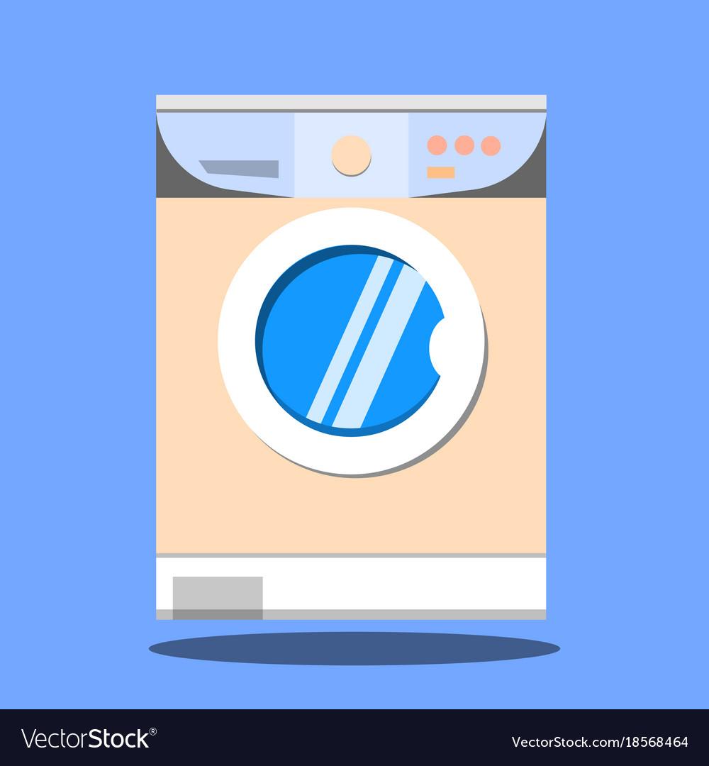 Washing machine on blue background flat design