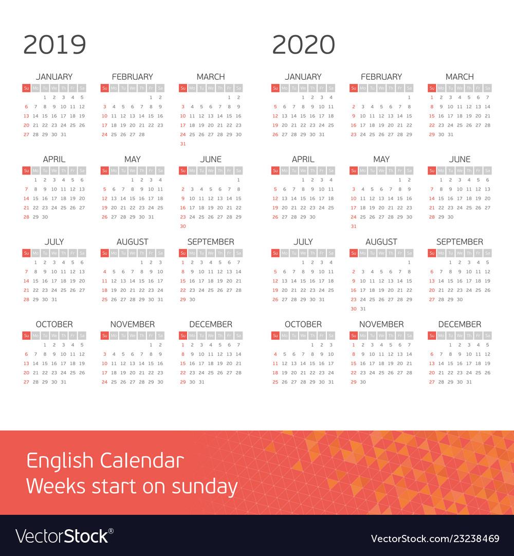 Calendar on 2019 2020