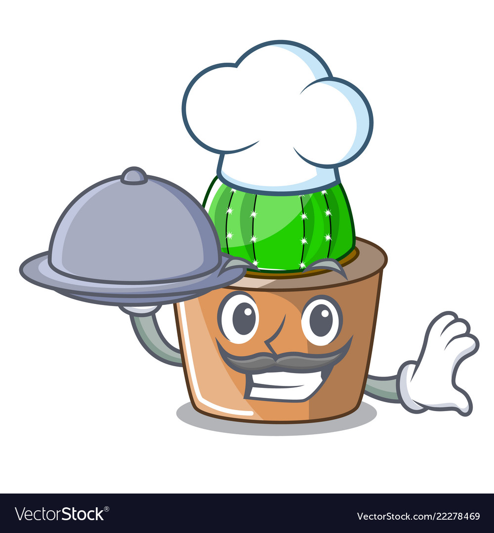 9f00407f3d1530 Chef with food cartoon star cactus in flower pot Vector Image