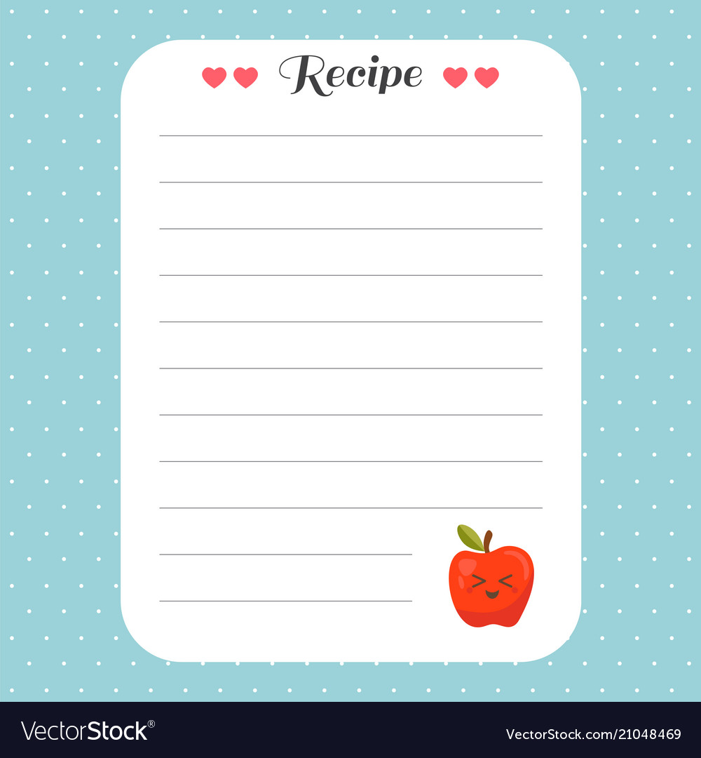 cookbook template page recipe card template for vector image