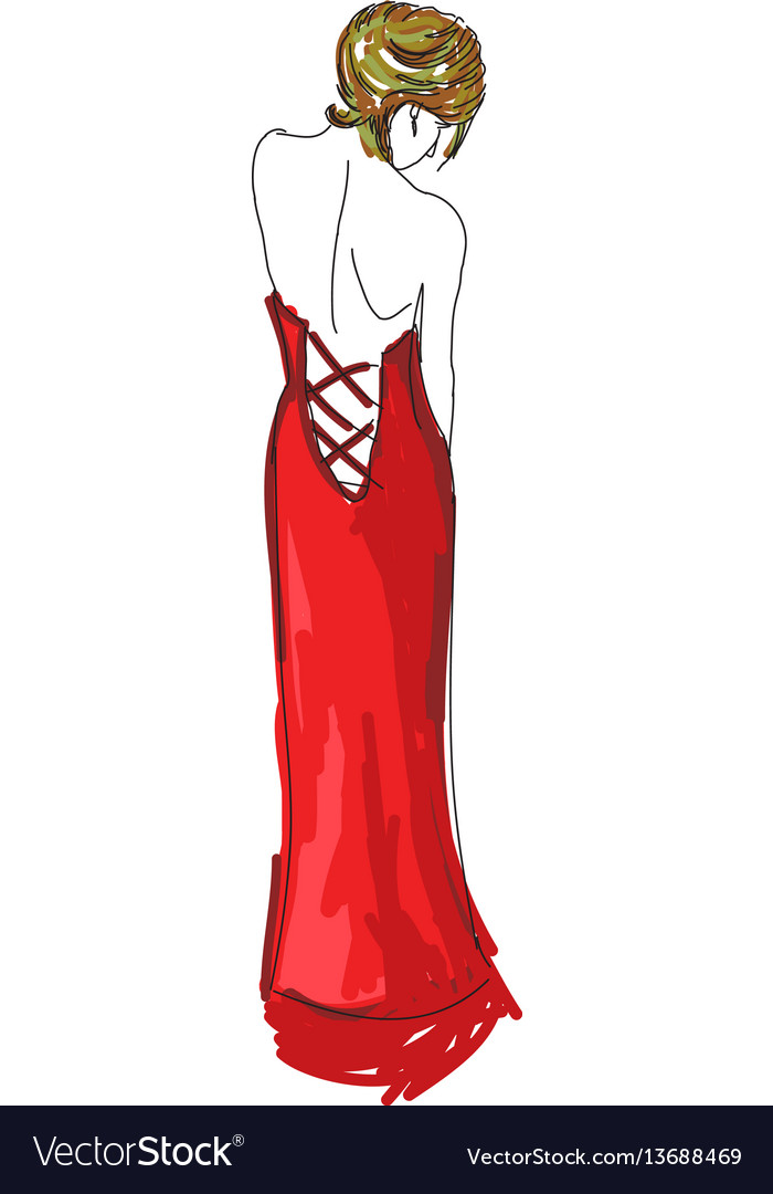 Drawn woman in red evening dress