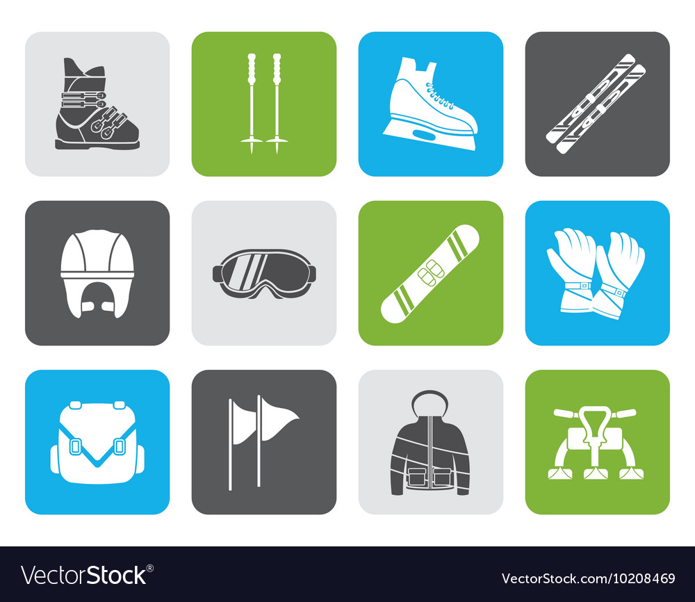 Flat ski and snowboard equipment icons