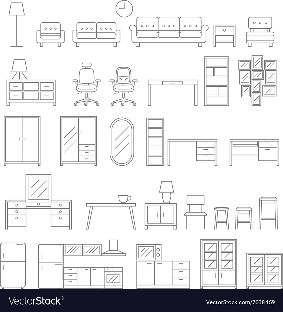 Furniture line icons style vector image
