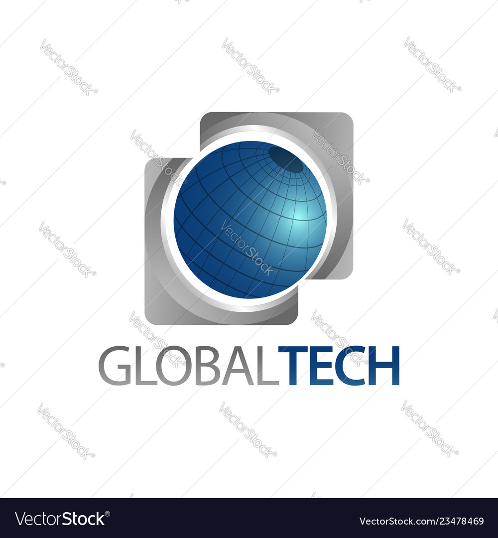 Global tech three dimensional square world globe