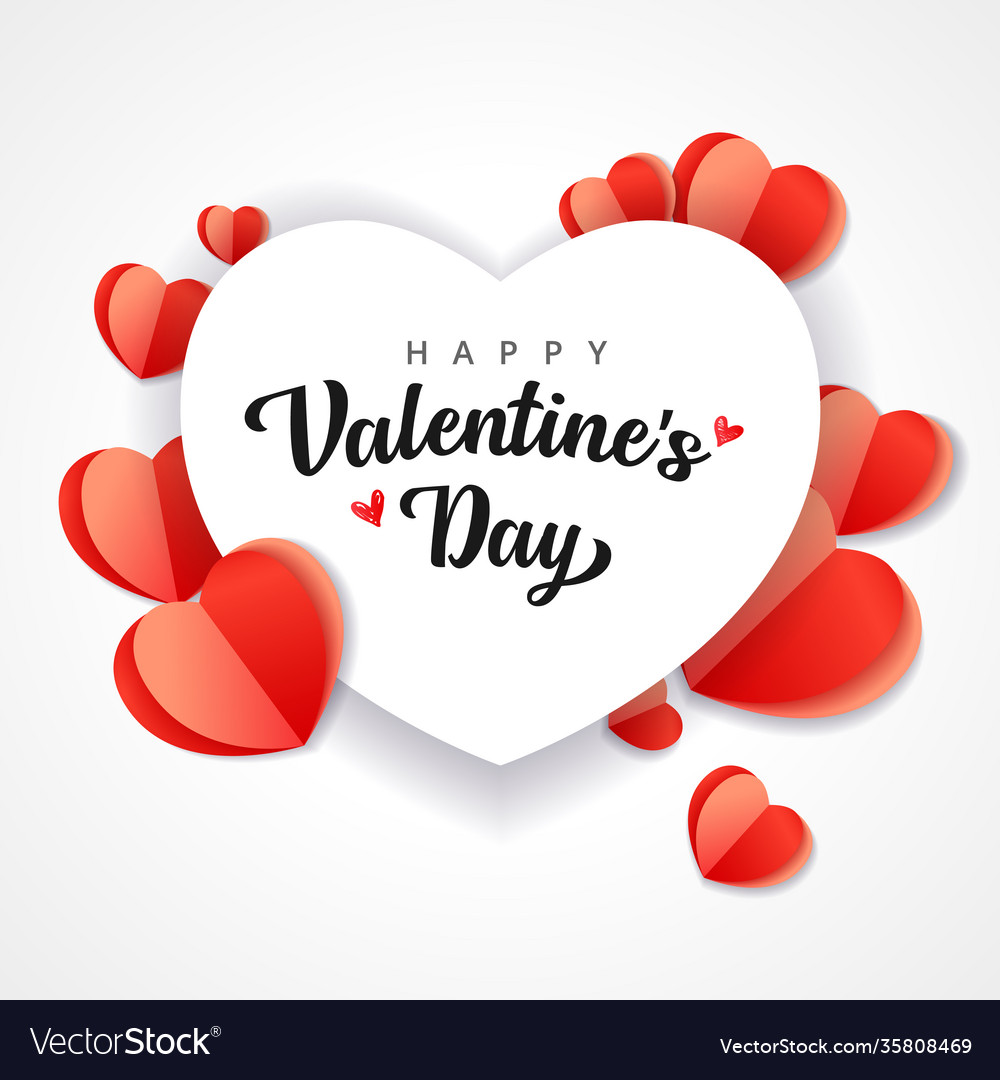 Happy valentines day heart paper background