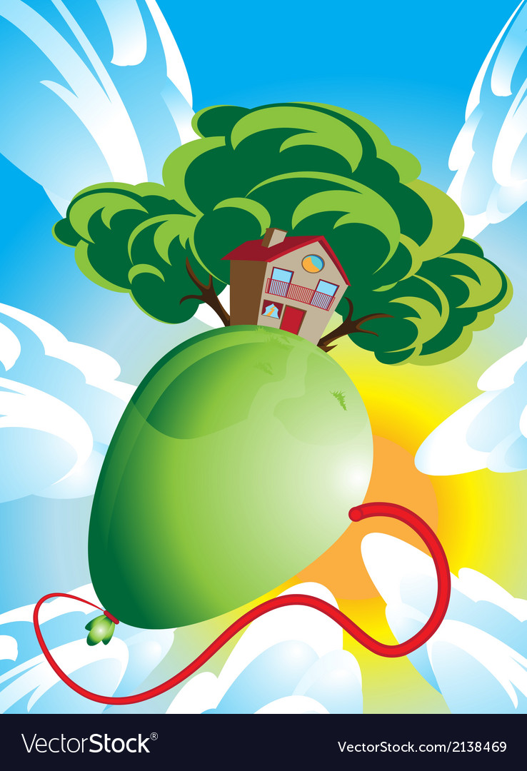 House and green tree floating on a balloon