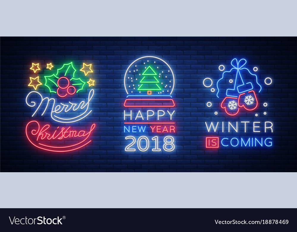 Merry christmas and happy new year 2018 collection vector image