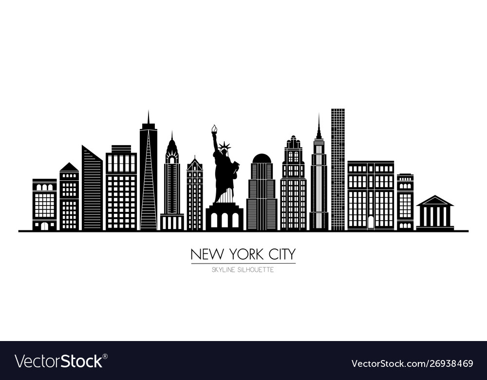 New york city skyline silhouette flat design