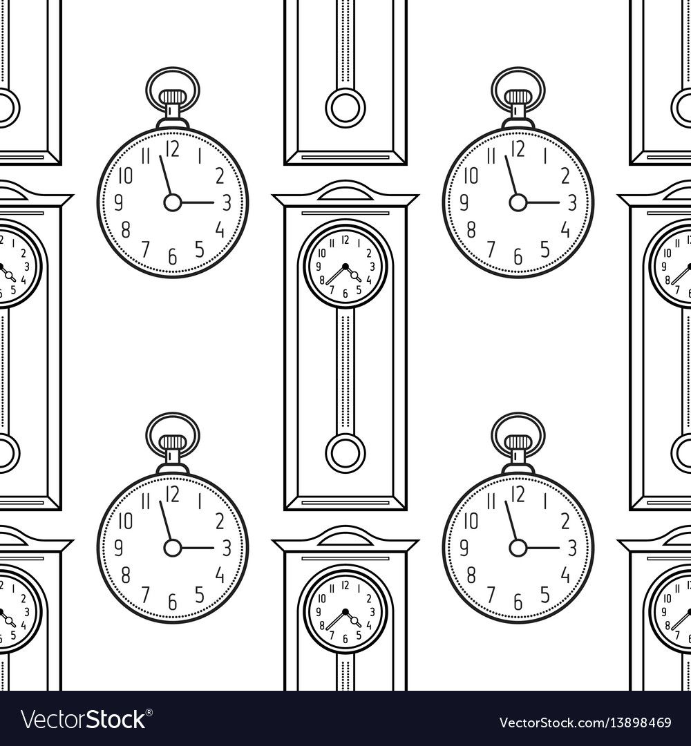 Pocket watches and grandfather clock flat linear