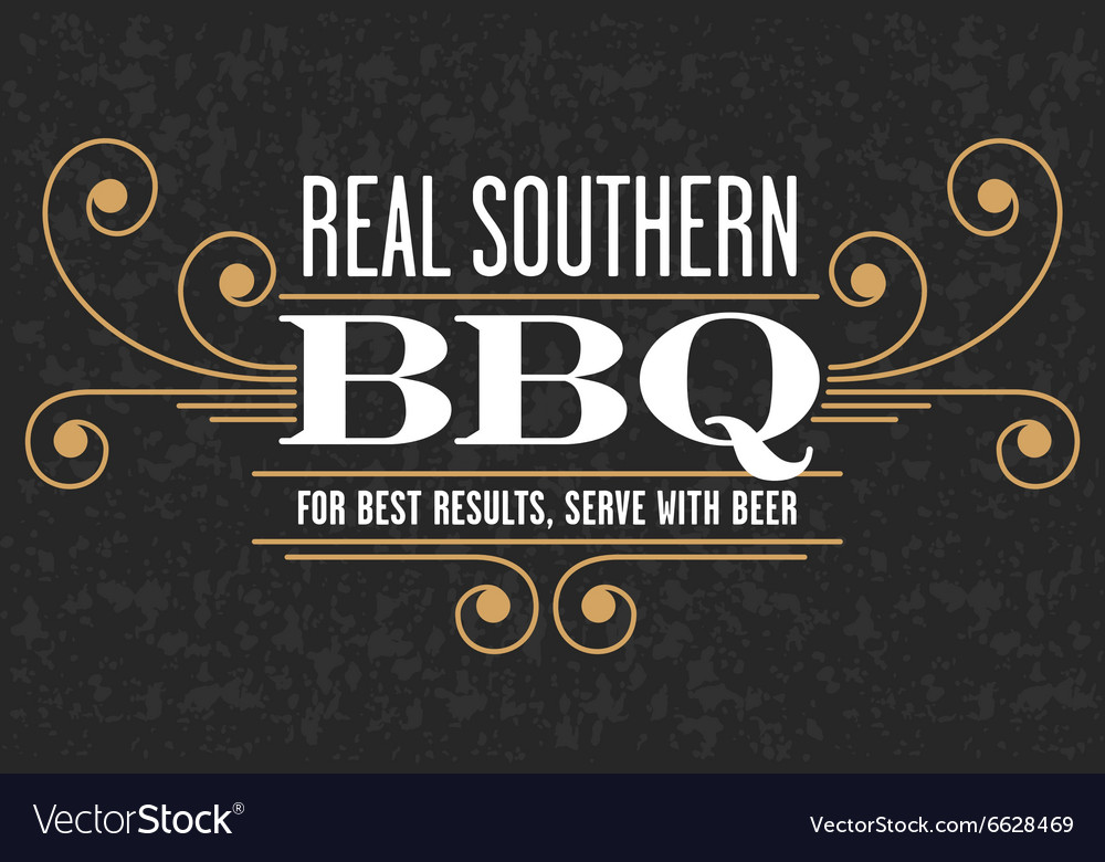 Real Southern Barbecue Emblem vector image