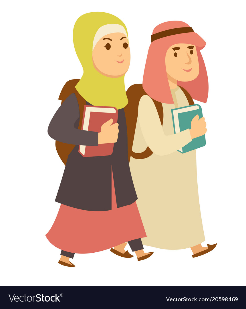Saudi arab muslim boy and girl kids going to