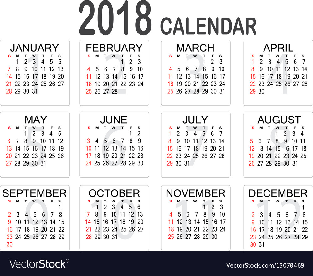 Year Calendar Buy : Simple year calendar on white background vector image