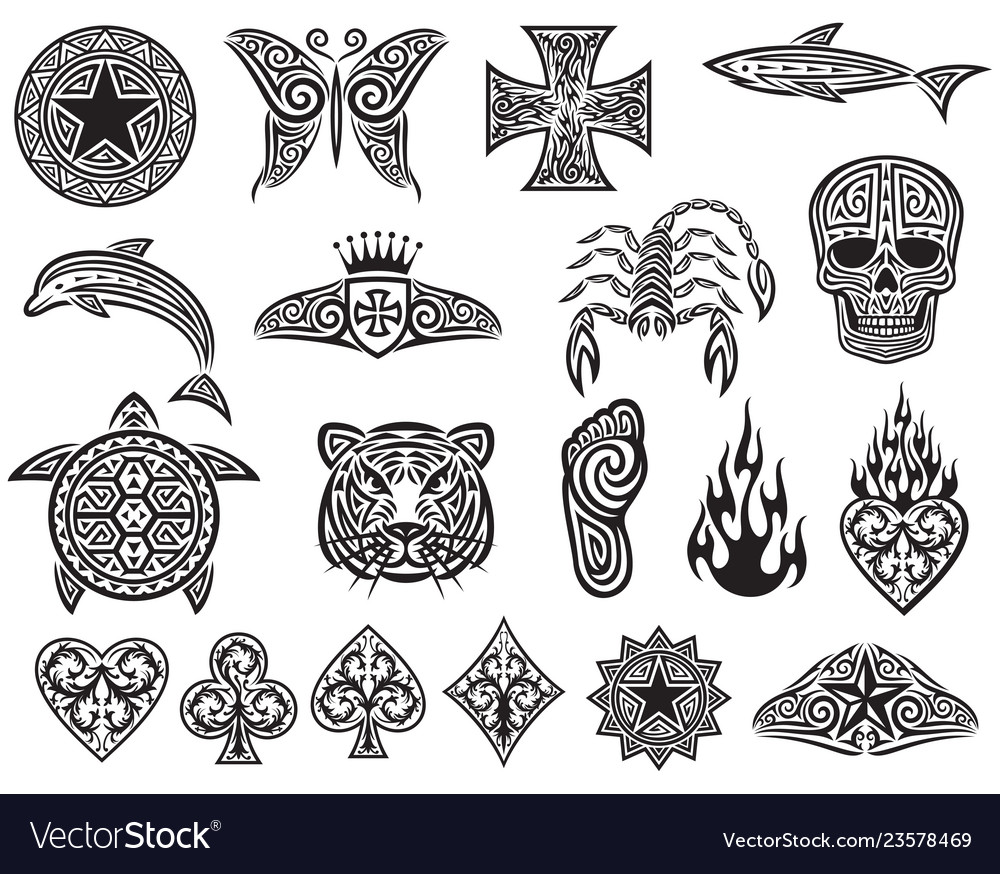 Tattoo tribal icons set - design elements
