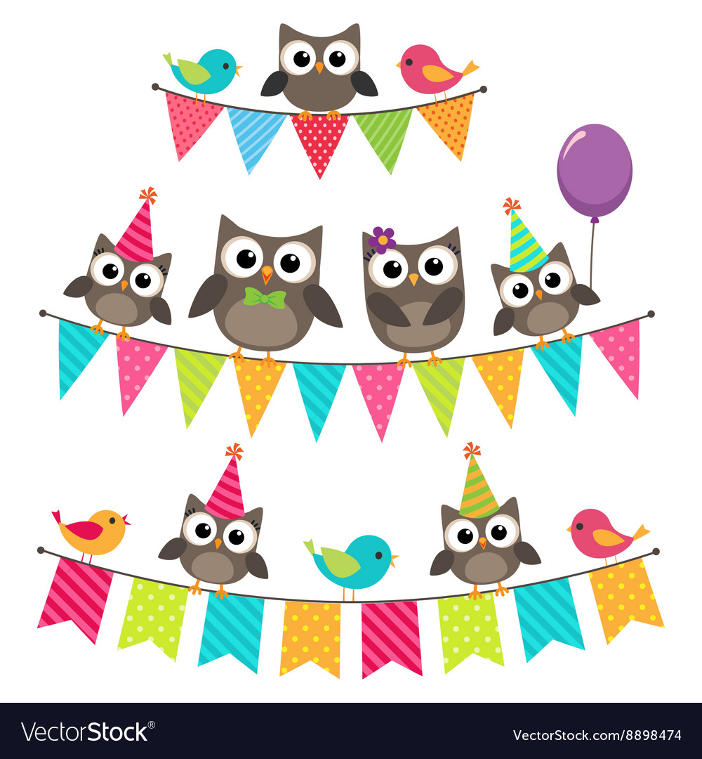 Birthday bunting with owls vector image