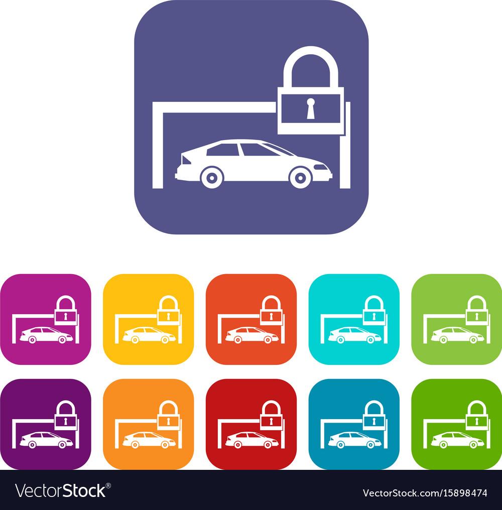 Car and padlock icons set