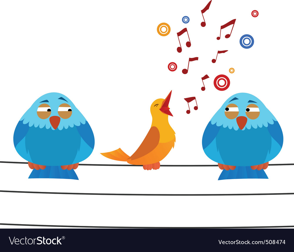 Cartoon bird sitting on wire with sing one Vector Image