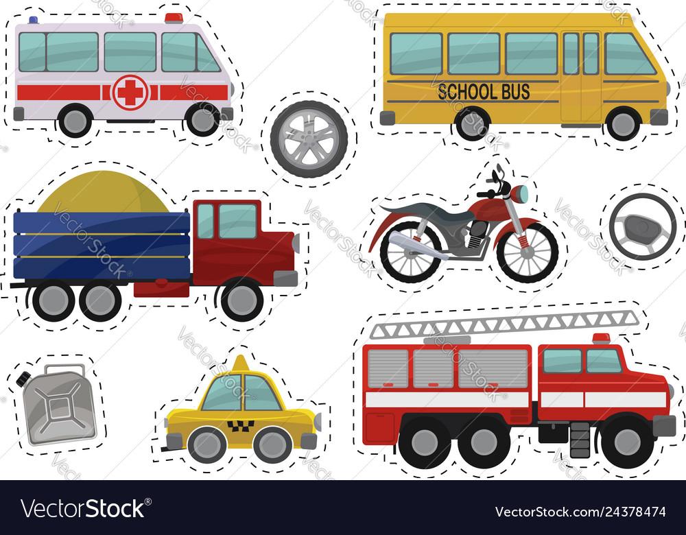 Cartoon kids car toys icons
