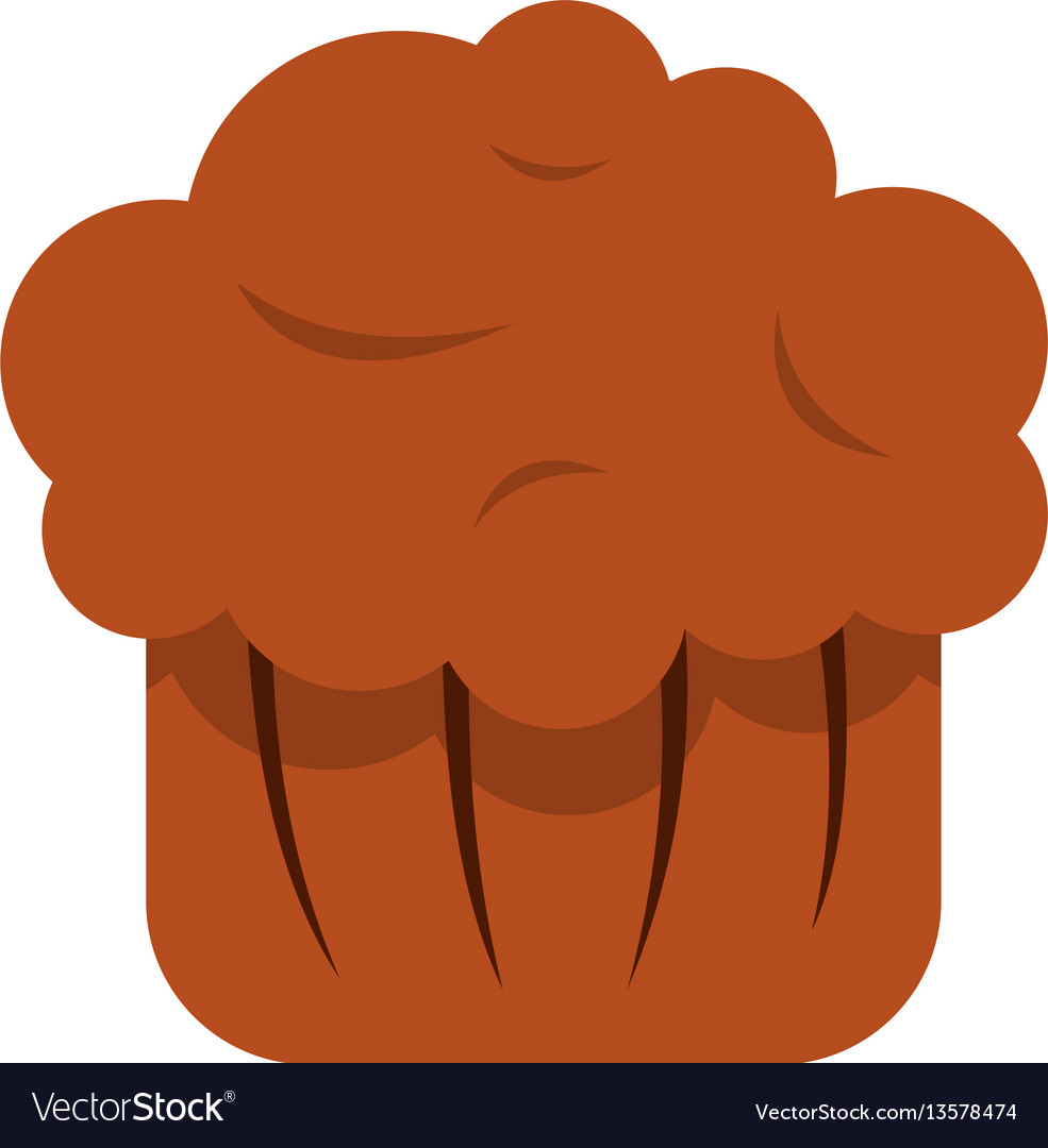 Chocolate muffin icon flat style