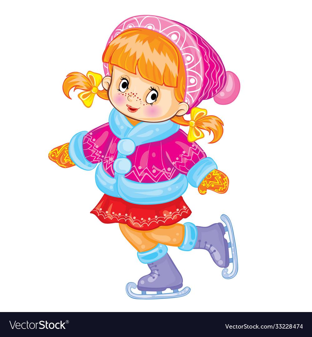 Cute girl in shark and fur coat skates cartoon