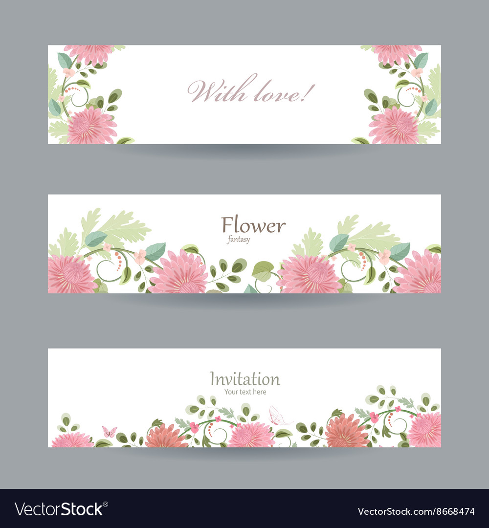 Floral invitation cards for your design with love