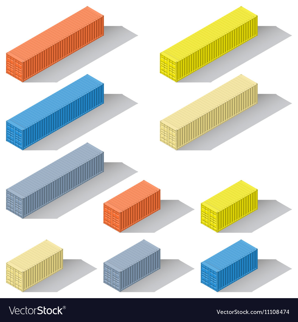 Forty and twenty foot sea containers of different
