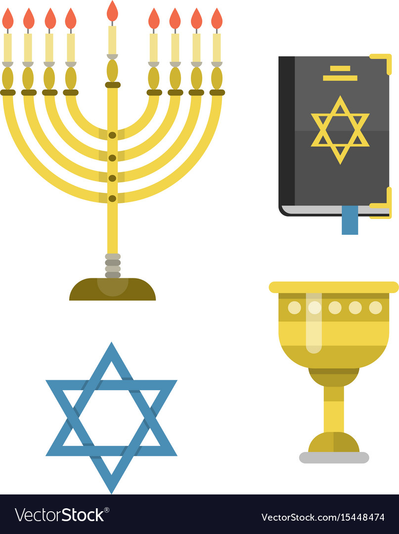 Judaism church traditional symbols isolated