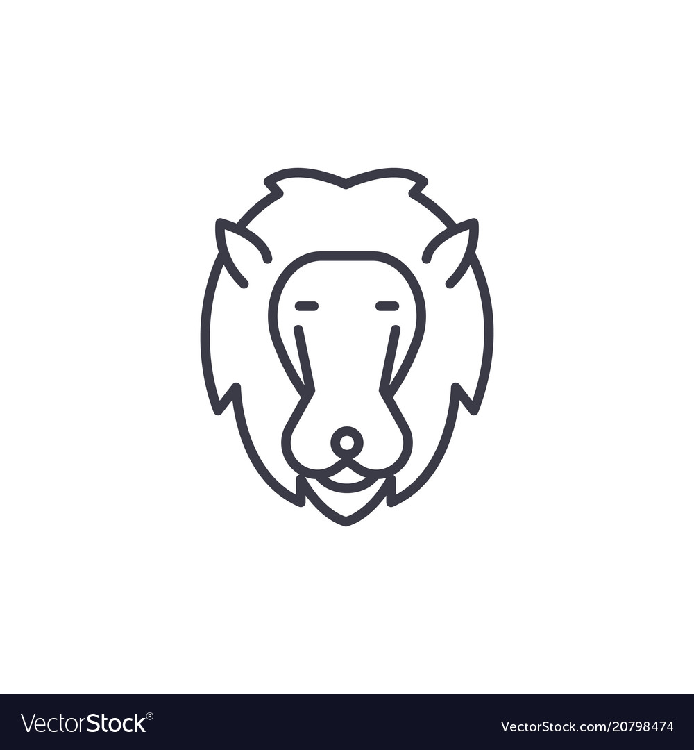 Lion head line icon sign on