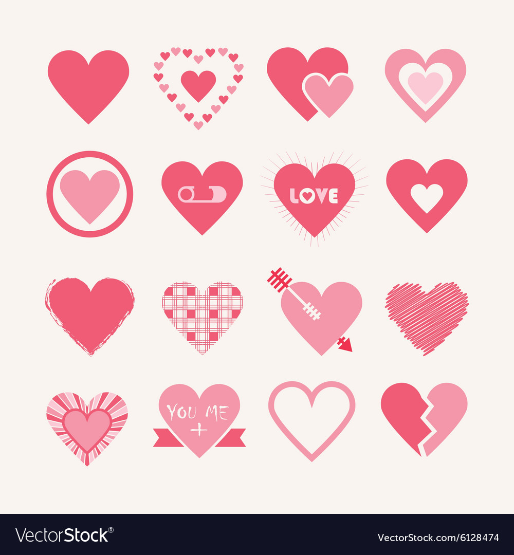 Pink Valentines day hearts icon set
