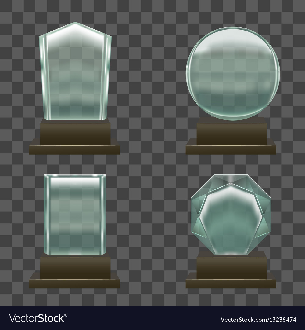 Realistic glass or crystal prizes set