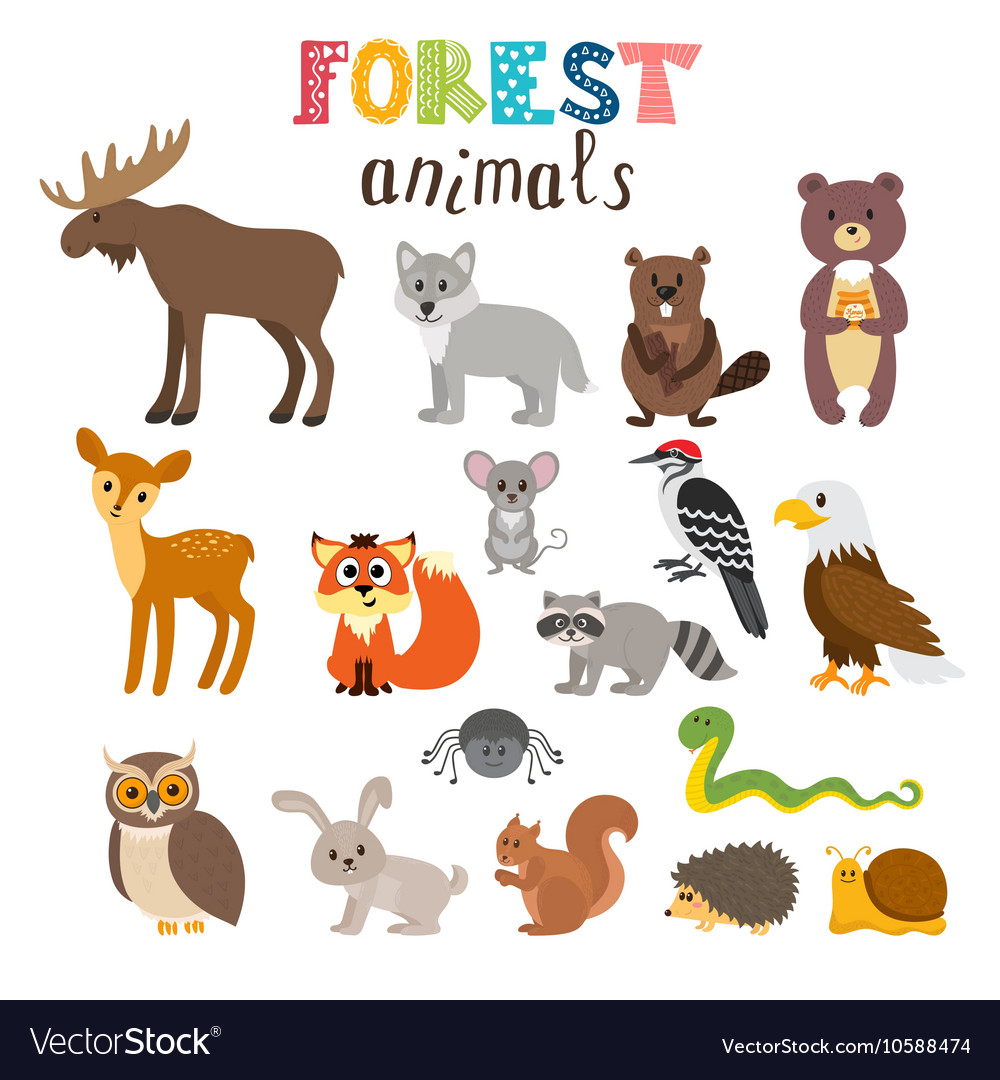 set of cute forest animals in woodland cartoon vector image clipart hedgehog black and white Baby Hedgehog