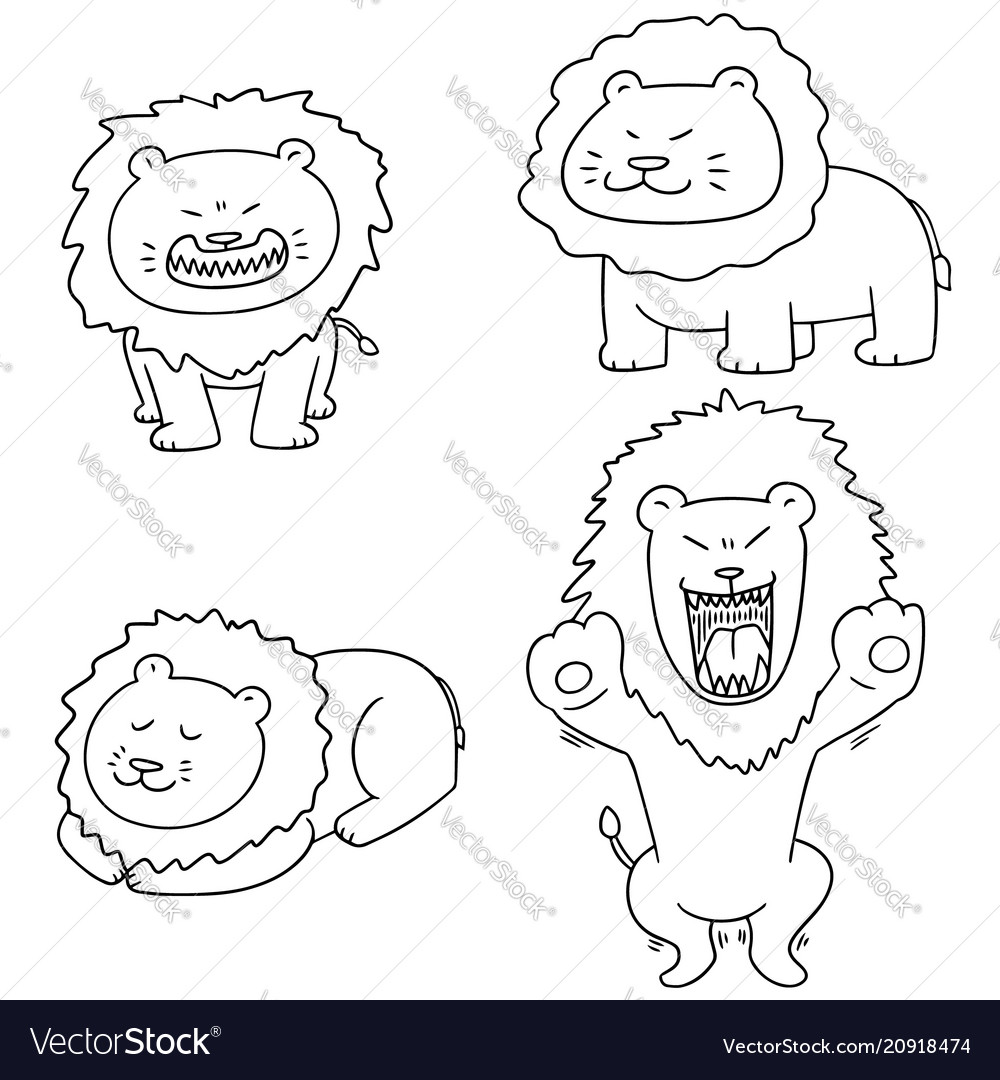 Set of lion vector image