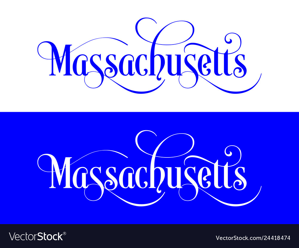Typography of the usa massachusetts states