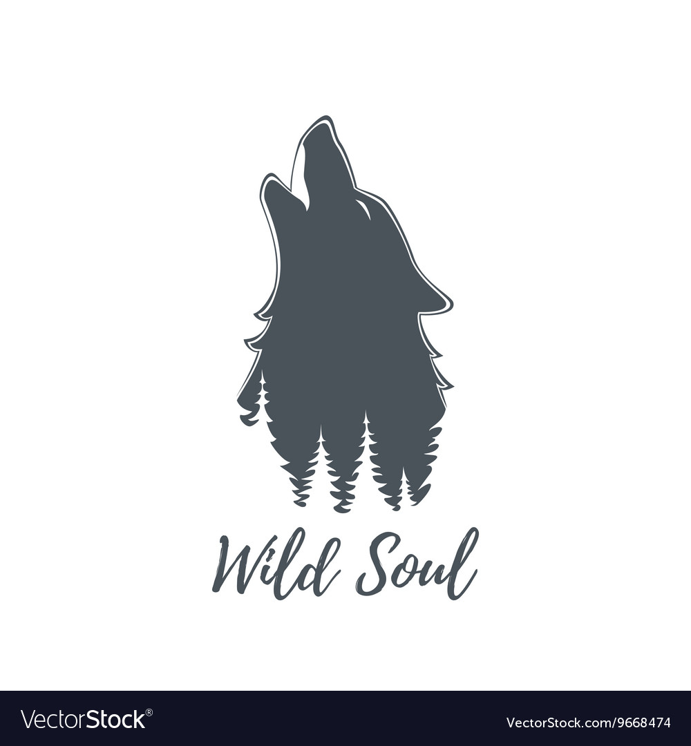 Wolf howling Logo template