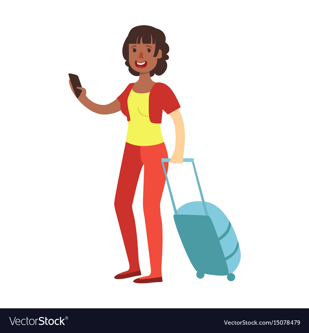 f2edd5f657d Cheerful brunette woman standing with travel Vector Image