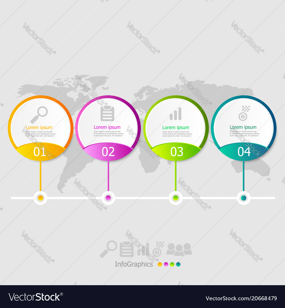 Circle infographic elements layout 4 steps for