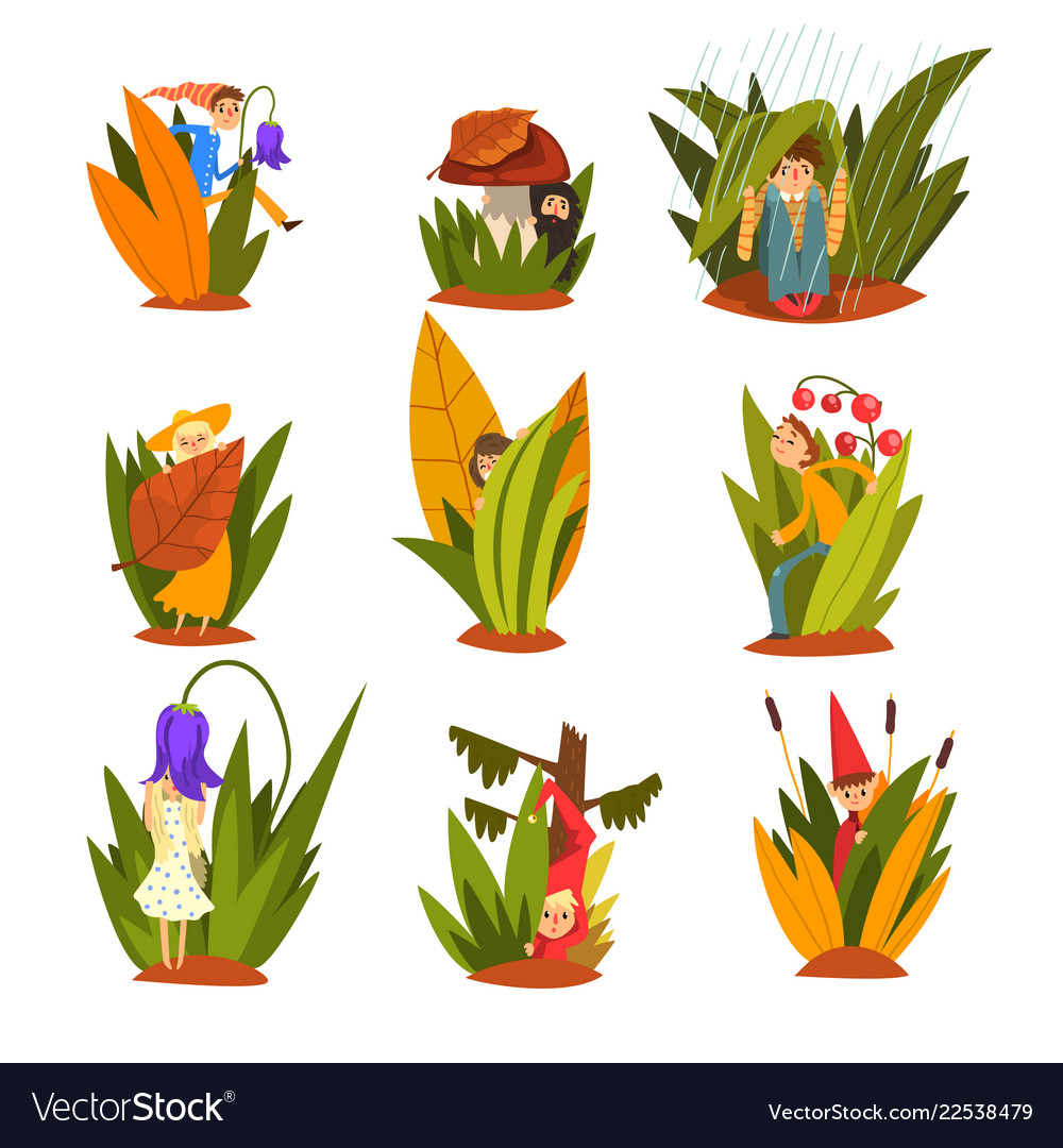 Cute little people in tall grass set funny fairy