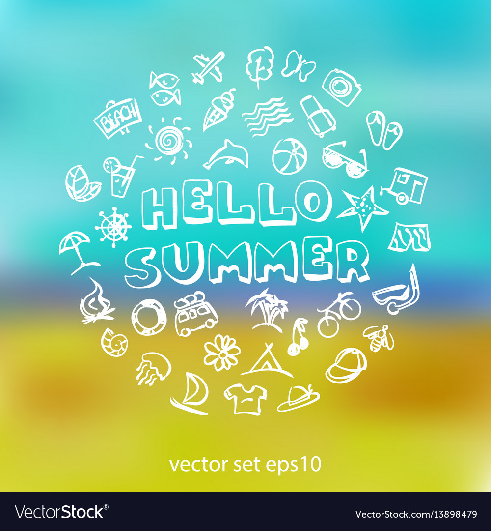 Doodle summer icons set