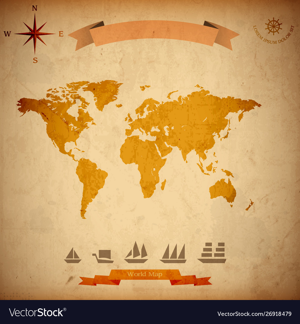 Grunge world map old sailboats on old paper