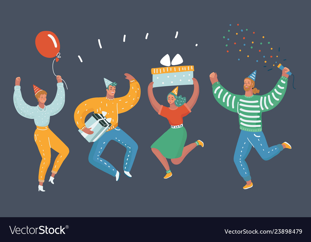 Happy people celebrate an important event